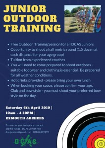 DCAS Junior Outdoor Training @ Exmouth Archers